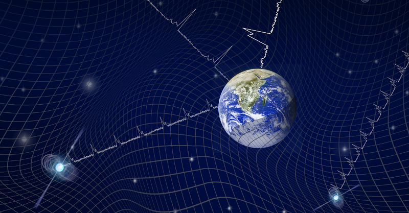 Representative illustration of the Earth embedded in space-time which is deformed by the background gravitational waves and its effects on radio signals coming from observed pulsars.